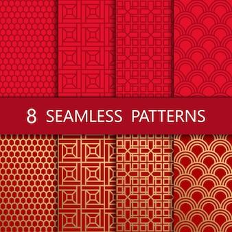 Set van gouden chinees naadloos patroon,