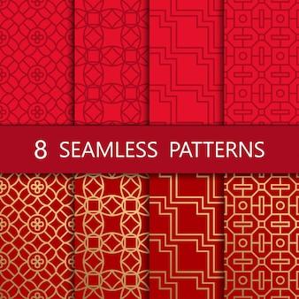 Set van gouden chinees naadloos patroon