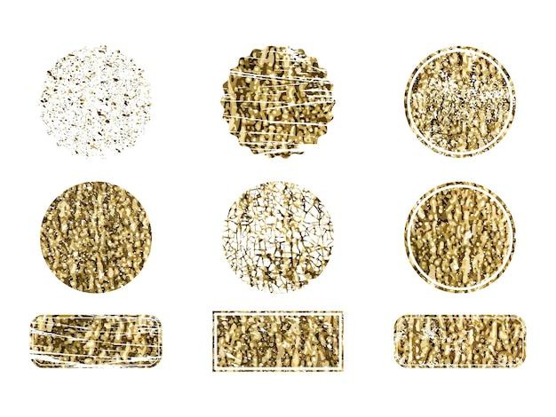 Set van gouden cirkels en rechthoeken. luxe gouden vintage rand.