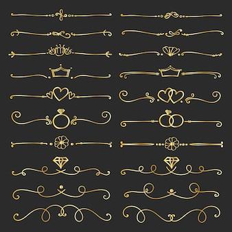Set van gouden decoratieve kalligrafische elementen voor decoratie.