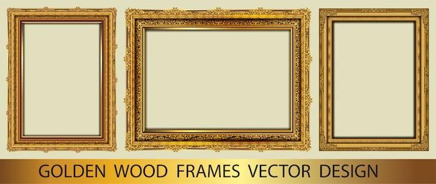 Set van gouden decoratieve vintage frame Premium Vector