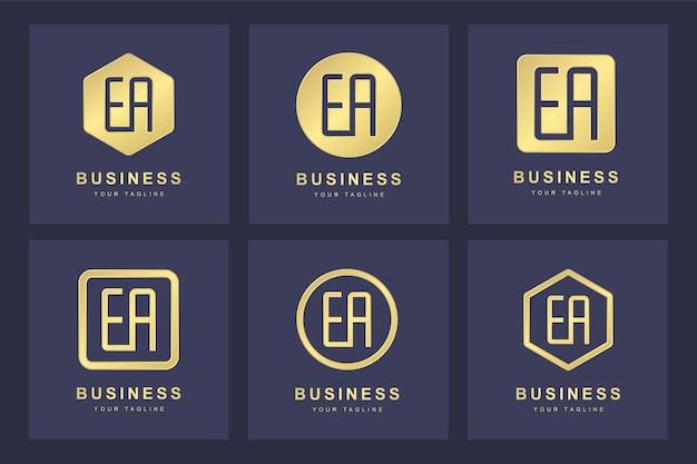Set van gouden ea-brieflogo met verschillende versies