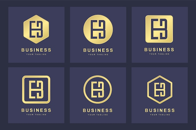 Set van gouden eb brief logo met verschillende versies