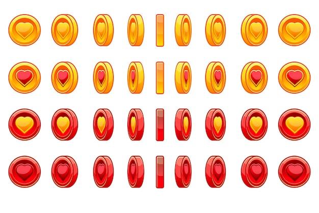 Set van gouden en rode munten hart voor saint valentine day