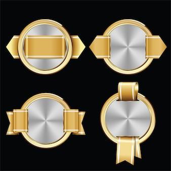 Set van gouden en zilveren certificaatzegels en badges.