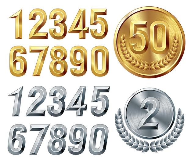 Set van gouden en zilveren cijfers