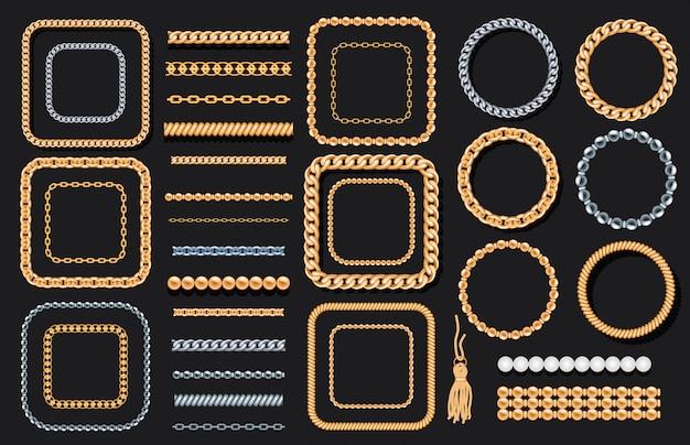 Set van gouden en zilveren kettingen