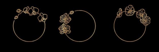 Set van gouden frame sjabloon orchideebloem en monogram concept in minimale lineaire stijl. vector bloemenembleem met exemplaarruimte voor brief of tekst. stempel voor cosmetica, medicijnen, eten, mode, schoonheid