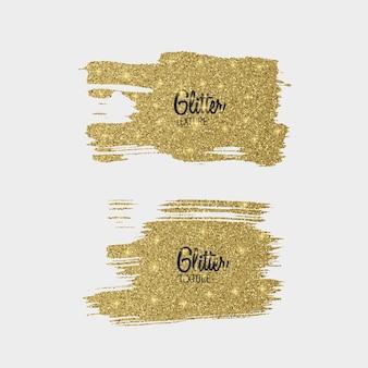 Set van gouden glitter penseelstreek