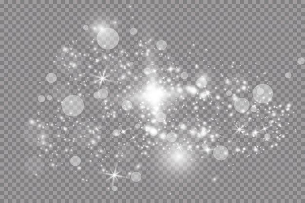 Set van gouden gloeiende lichteffecten geïsoleerd op transparante achtergrond. zonneflits met stralen en schijnwerpers. glow lichteffect. ster barstte van de glitters.