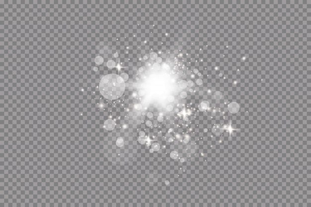 Set van gouden gloeiende lichteffecten op transparante achtergrond. zonneflits met stralen en schijnwerpers. glow lichteffect. ster barstte van sprankeling.