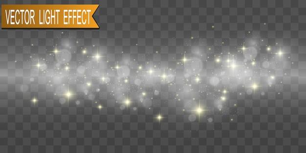 Set van gouden heldere mooie sterren. lichteffect bright star. mooi licht ter illustratie. kerstster. witte vonken fonkelen met een speciaal licht. vector schittert op transparante achtergrond