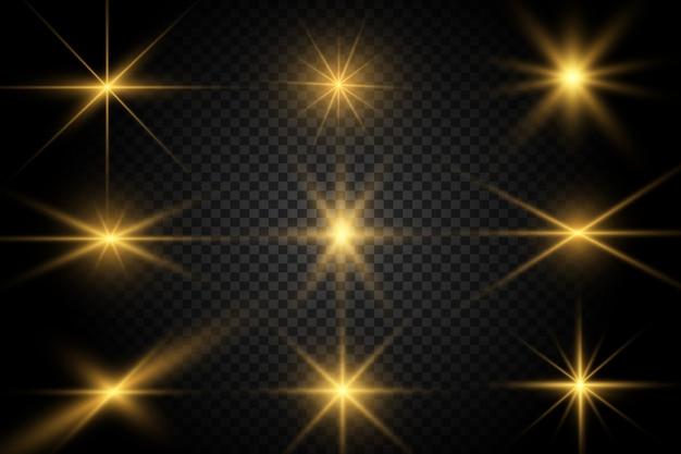 Set van gouden heldere mooie sterren. lichteffect bright star. mooi licht ter illustratie. witte vonken schitteren met een speciaal licht. vector schittert