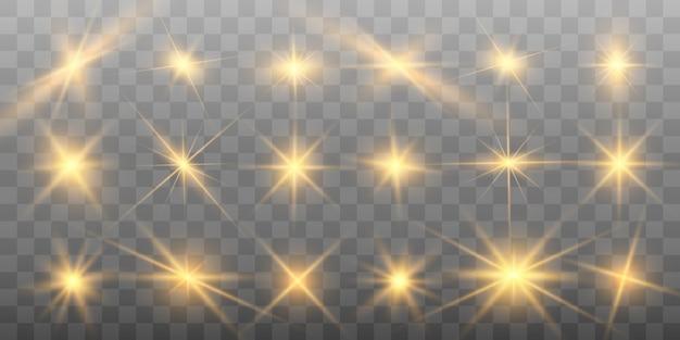 Set van gouden heldere mooie sterren.