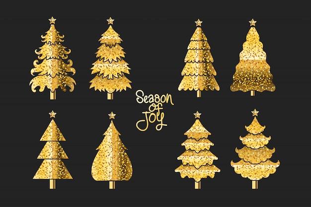 Set van gouden illustratie kerstboom op zwarte achtergrond