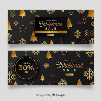 Set van gouden kerst banners
