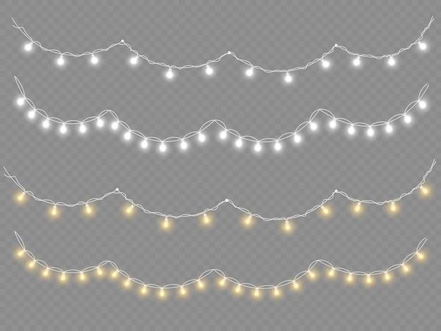Set van gouden kerst gloeiende slinger led neon lamp nieuwjaar decoratie kerstverlichting wit