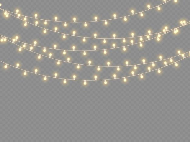 Set van gouden kerst gloeiende slinger led neon lamp nieuwjaar feest kerstverlichting decoratie