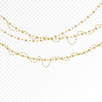 Set van gouden kralen en gouden kettingen.
