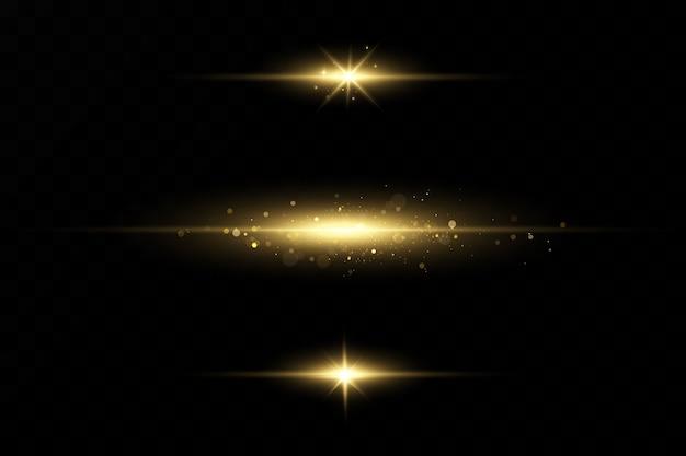 Set van gouden lichteffecten. flitsen en blikken. heldere lichtstralen. gloeiende lijnen. illustratie. kerstflits. stof.