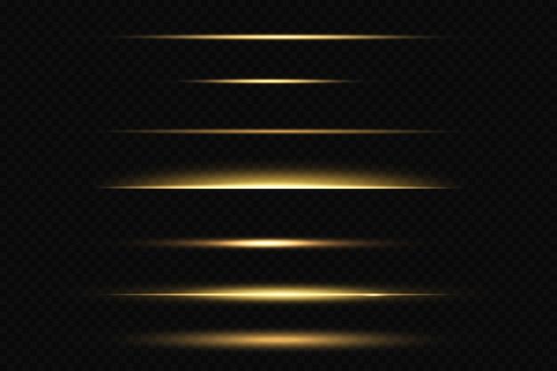 Set van gouden lijnen geïsoleerd op zwart