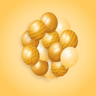 Set van gouden luxe bos verjaardagsdecoratie ballonnen ontwerp