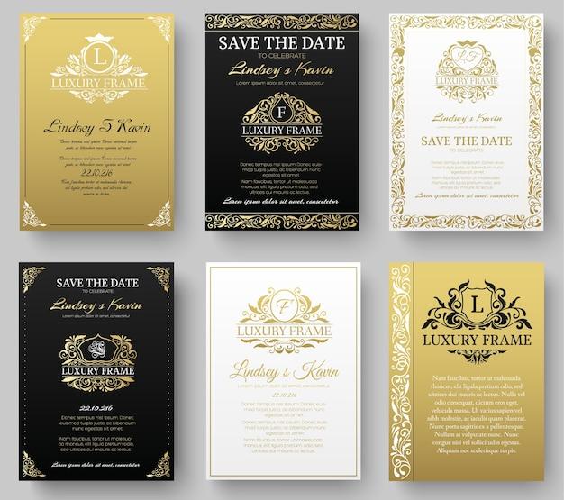 Set van gouden luxe flyer-pagina's instellen met logo ornament illustratie concept
