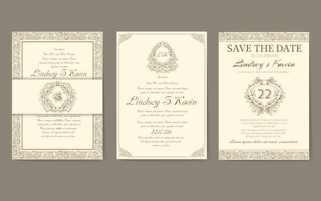 Set van gouden luxe flyer-pagina's met logo-ornament. vintage kunst identiteit, kaart, trendy, bloemen.