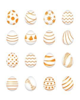 Set van gouden paaseieren en verschillende patronen, vectorillustratie