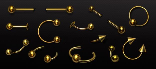 Set van gouden piercing sieraden metalen pierce rings barbell met balletjes en kegels