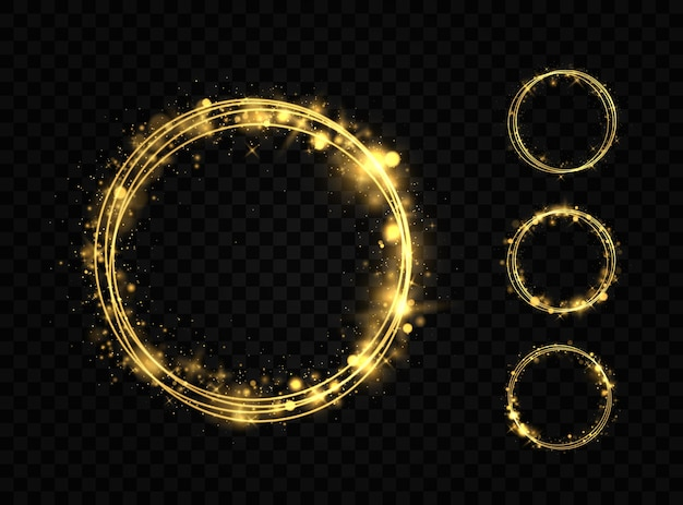 Set van gouden ringen. gouden cirkels frames met glitter lichteffect. een gouden flits vliegt in een cirkel in een lichtgevende ring.