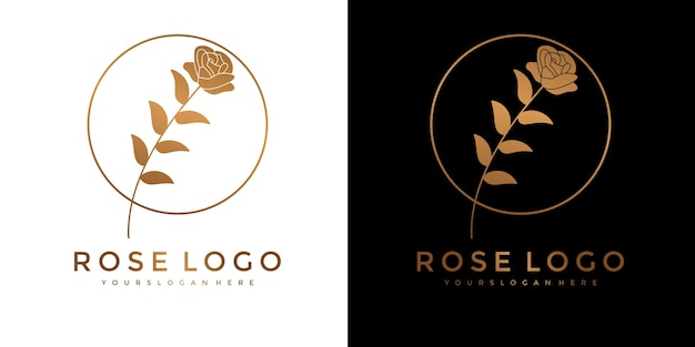 Set van gouden roze bloem logo
