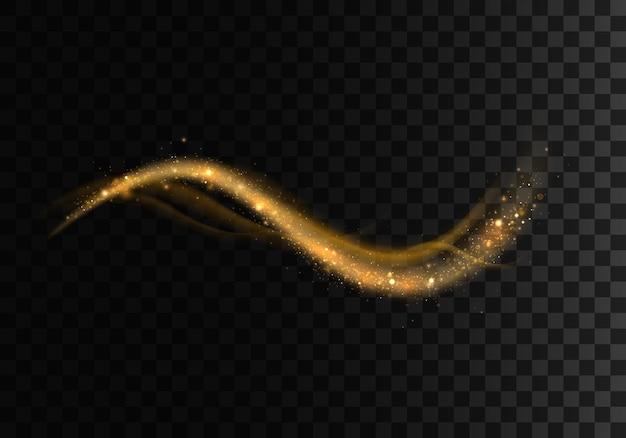 Set van gouden sprankelende lichtsporen