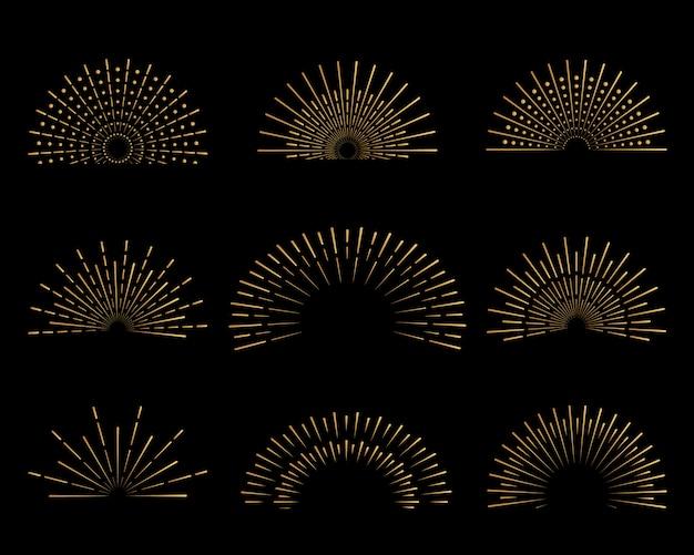 Set van gouden stralen badges