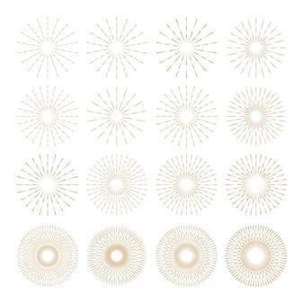 Set van gouden sunburst sjabloon in verschillende vorm