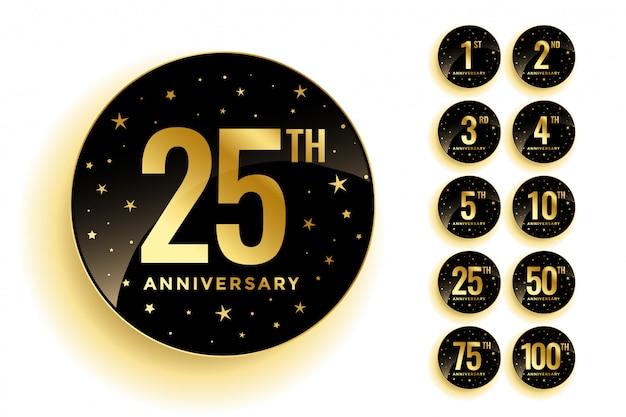 Set van gouden verjaardag badges
