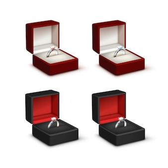 Set van gouden verlovingsringen met roze en witte glanzende diamanten