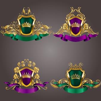 Set van gouden vip-monogrammen. elegant sierlijk frame, lint, filigraanrand, kroon in vintage stijl