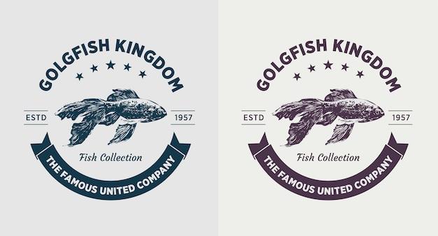 Set van gouden vis vintage logo