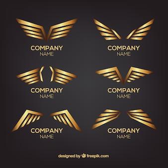 Set van gouden vleugelslogo's