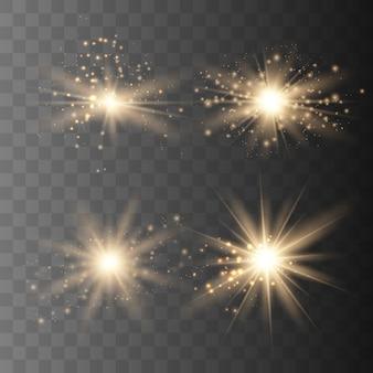 Set van gouden vonken geïsoleerd. vector gloeiende sterren