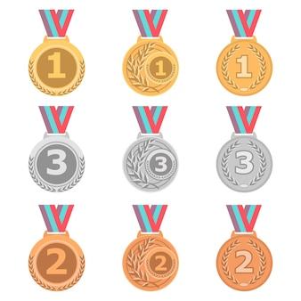 Set van gouden, zilveren en bronzen medailles in verschillende stijl.