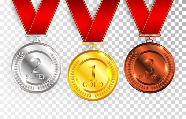 Set van gouden, zilveren en bronzen medailles met rode linten. medaille ronde lege gepolijste collectie geïsoleerd op transparante achtergrond.