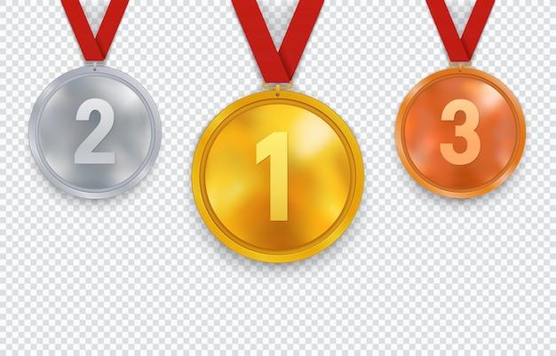 Set van gouden zilveren en bronzen medailles met rood lint.
