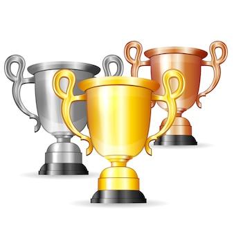 Set van gouden, zilveren en bronzen trofeeën
