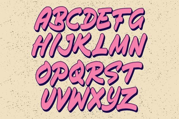 Set van graffiti alfabet stijl