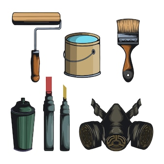 Set van graffiti apparatuur elementen en vector