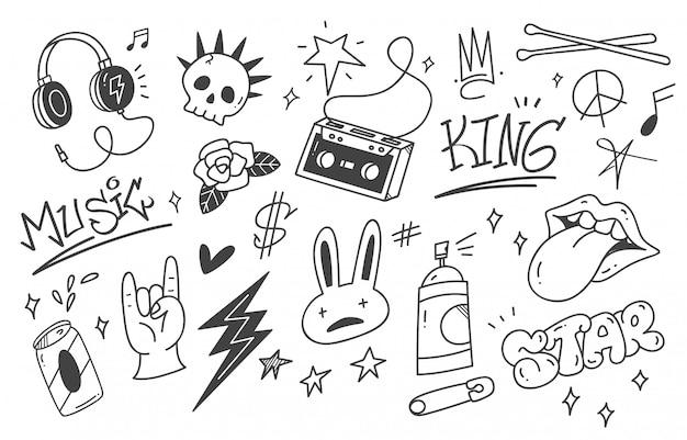 Set van graffiti punk muziek doodle