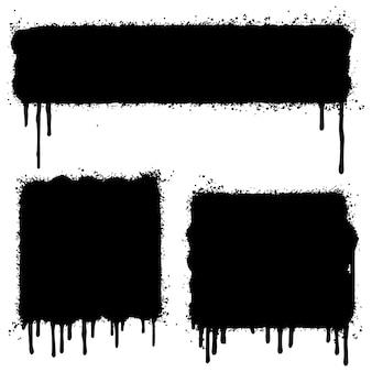 Set van graffiti spray geschilderde lijnen en grunge stippen geïsoleerd op een witte achtergrond. vectorillustratie.