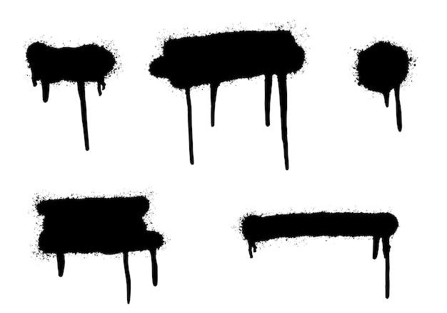Set van graffiti spray geschilderde lijnen en grunge stippen geïsoleerd op een witte achtergrond.